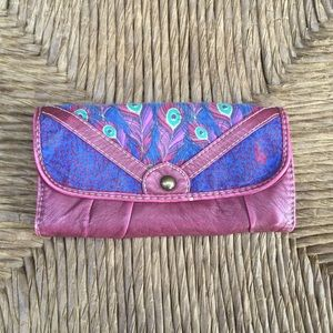 Target Purple and Blue Wallet with Peacock Pattern